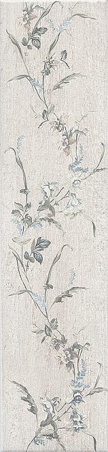Керамический гранит 9,9х40,2 Кантри Шик белый декорированный SG401600N
