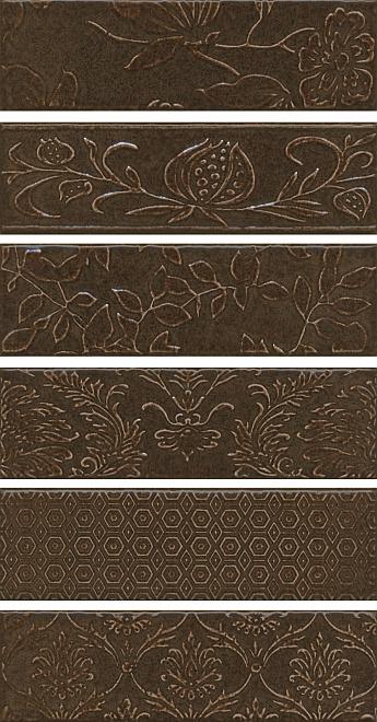 Декор Панно 51x28,5 Кампьелло коричневый из 6 частей 8,5х28,5 (размер каждой части) AD\D333\6x\2926