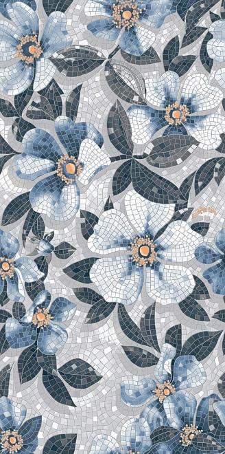 Керамический гранит 119,5х238,5 Розелла синий декорированный лаппатированный SG591002R