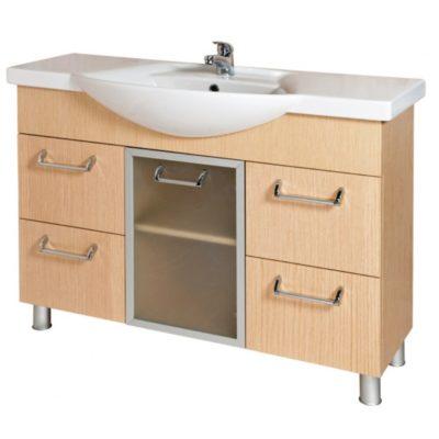 Идеал Плюс 110 (светлый дуб) Шкаф под умывальник для ванной комнаты с умывальником мебельным W890201 Akva Rodos