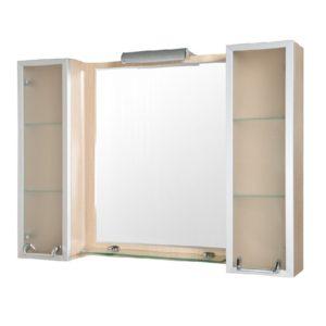 Идеал Плюс 110 (светлый дуб) Шкаф настенный с зеркалом для ванной комнаты с подсветкой Akva Rodos