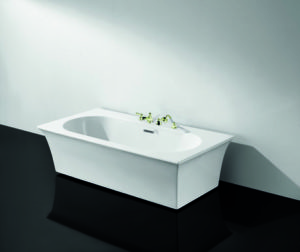 TS-9097 Ванна акриловая отдельно стоящая (панель деревянная, мраморная столешница, смеситель) APPOLLO