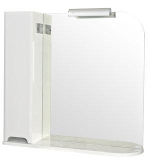 Шкаф Бостон 85 (L) настенный с зеркалом для ванной комнаты в комплекте с подсветкой LED Omega 4.5W, хром Akva Rodos