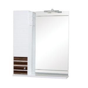 Шкаф ИМПЕРИАЛ 65 (L) (венге) настенный с зеркалом для ванной комнаты в комплекте с подсветкой LED Omega 4.5W, хром Akva Rodos