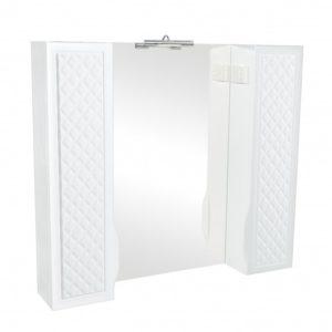 Зеркало РОДОРС 100- шкаф настенный с зеркалом для ванной комнаты в комплекте с подсветкой LED Omega 4.5W, хром Akva Rodos